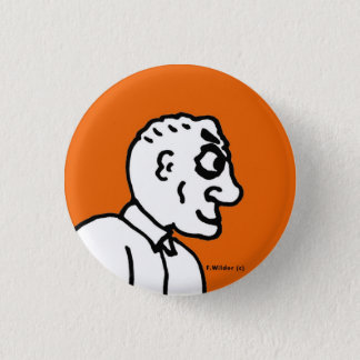 Old Man on orange field Pinback Button