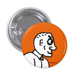 Old Man on orange field Pinback Button