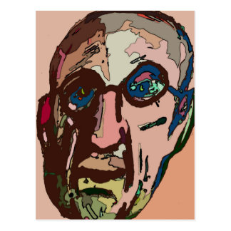 Old Man Pink Face Abstract Postcard