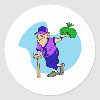 Old man player with bag of dough classic round sticker