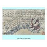 Old man playing a flute Ukiyoe Postcard