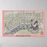 Old man playing a flute Ukiyoe Print