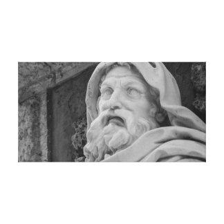Old Man Poseidon Face Marble Sculpture Canvas Print