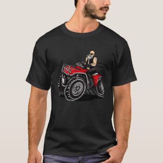 old man quadding, 4 wheeler funny cartoon designs T-Shirt