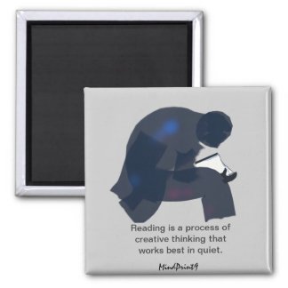 Old Man Reading 2 Inch Square Magnet