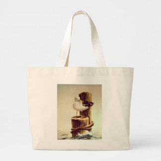 OLD MAN SEAGULL  by SHARON SHARP Large Tote Bag