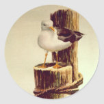 OLD MAN SEAGULL by SHARON SHARPE Round Stickers