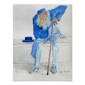Old Man Sitting on a Bench, Wearing Blue Clothes Poster