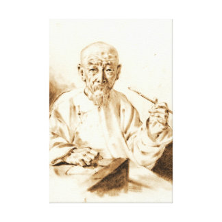 Old Man Smoking 1860 Stretched Canvas Prints