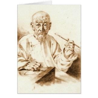 Old Man Smoking 1860 Card