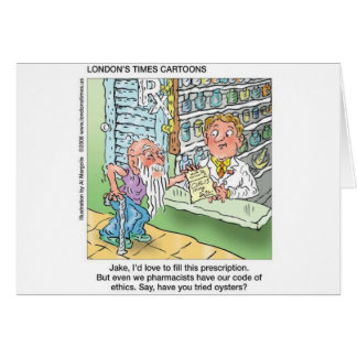 Old Man & The Pharmacy Funny Offbeat Cartoon Gifts Card
