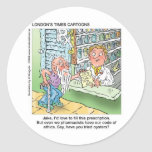 Old Man & The Pharmacy Funny Offbeat Cartoon Gifts Classic Round Sticker