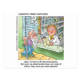 Old Man & The Pharmacy Funny Offbeat Cartoon Gifts Postcard
