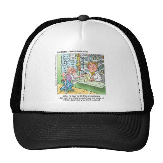 Old Man & The Pharmacy Funny Offbeat Cartoon Gifts Trucker Hat
