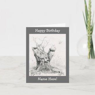 """""""Old Man Tree Spirit"""" graphite Greeting Cards"""