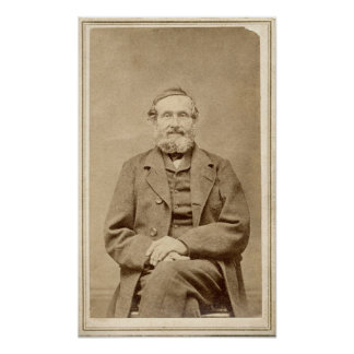 Old Man Vintage Albumen CDV Photo From 1860's Poster