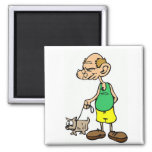 Old Man Walking the Dog 2 Inch Square Magnet