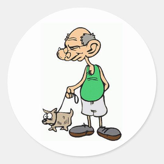 Old Man Walking the Dog Classic Round Sticker