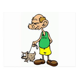 Old Man Walking the Dog Postcard