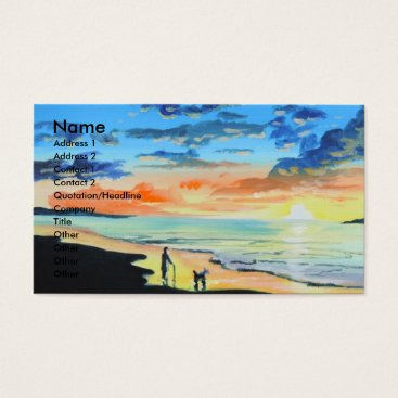 Beach Themed Old man walks a dog at the beach UK art Business Card