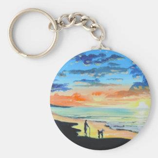 Old man walks a dog at the beach UK art Keychain