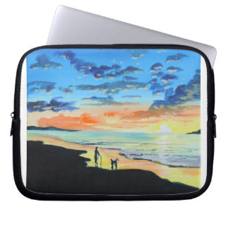 Old man walks a dog at the beach UK art Laptop Sleeve