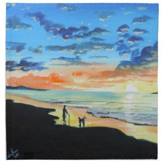 Old man walks a dog at the beach UK art Napkin