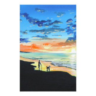 Old man walks a dog at the beach UK art Stationery
