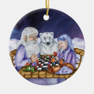 Old Man Winter and Jack Frost Play Chess Ornamnent Ceramic Ornament