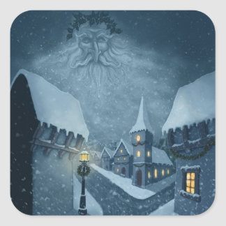old man winter holiday square sticker