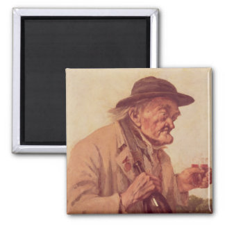 Old Man with a glass of wine 2 Inch Square Magnet