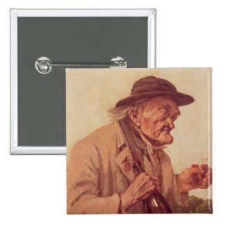 Old Man with a glass of wine 2 Inch Square Button