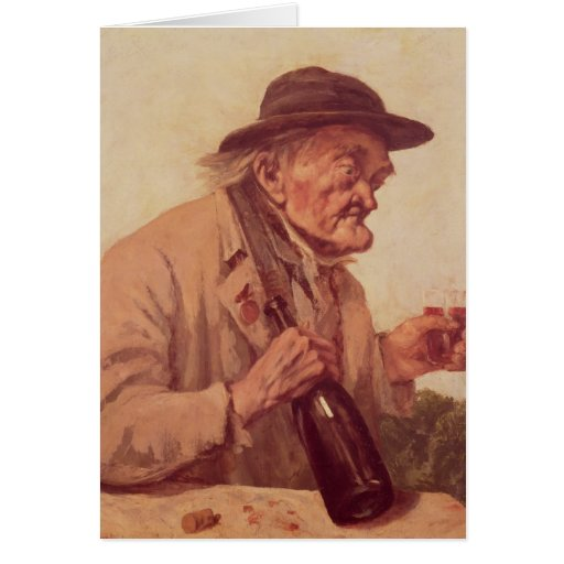 Old Man with a glass of wine Card