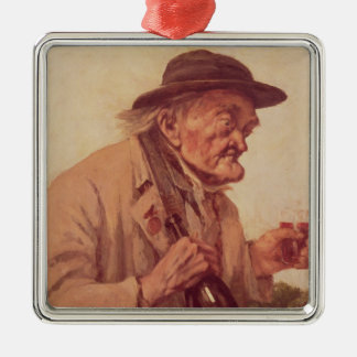 Old Man with a glass of wine Metal Ornament