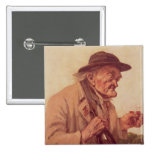 Old Man with a glass of wine Pinback Button