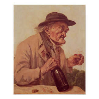 Old Man with a glass of wine Poster