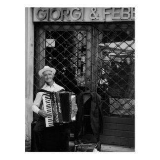 Old man with accordion Post Card