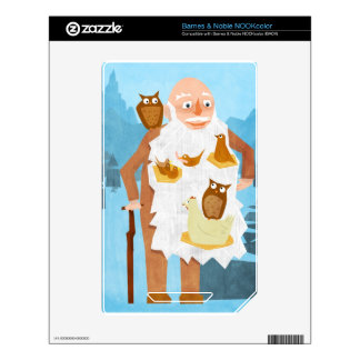 Old Man with Nests in Beard Decal For NOOK Color