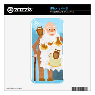 Old Man with Nests in Beard Decal For The iPhone 4