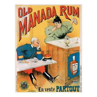 Old Manada Rum Vintage Drink Ad Art Postcard