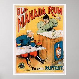 Old Manada Rum Vintage Drink Ad Art Poster