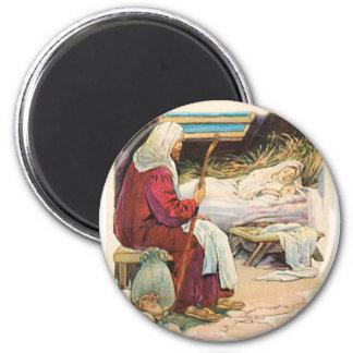 old manger scene magnet