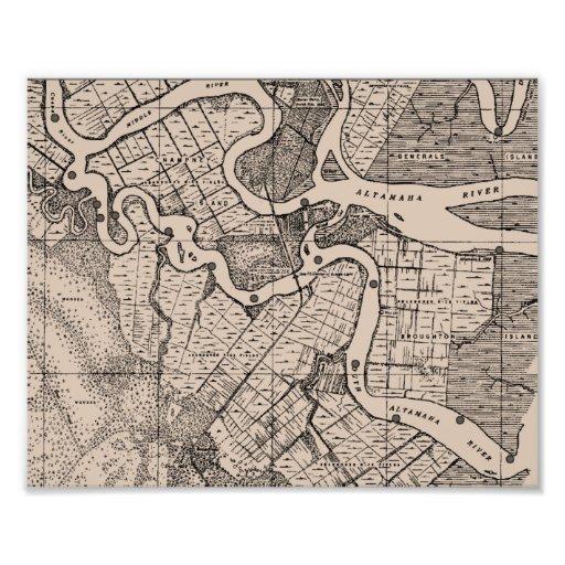 Old Map, Altamaha River, Georgia, USA - Brown Art Photo