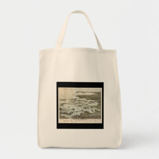 Old Map birds eye view Boston Harbor Canvas Bags