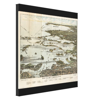 Old Map birds eye view Boston Harbor Stretched Canvas Prints