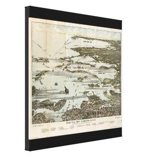 Old Map birds eye view Boston Harbor Canvas Print