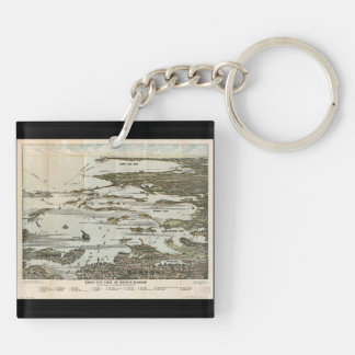 Old Map birds eye view Boston Harbor Acrylic Keychains