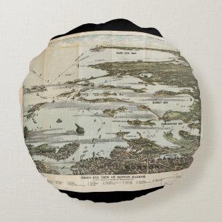 Old Map birds eye view Boston Harbor Round Pillow