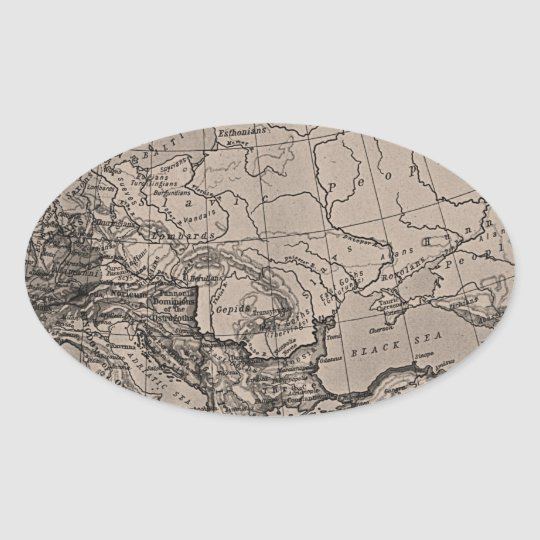 Old Map, Europe - Brown Black Gray Oval Sticker
