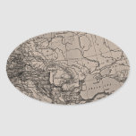 Old Map, Europe - Brown Black Oval Sticker